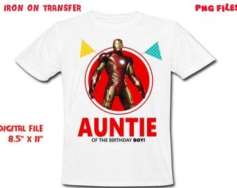 Iron Man - Iron On Transfer - AUNTIE - Iron Man Auntie Birthday Shirt Design - DIY Shirt - Digital Files - Instant Download