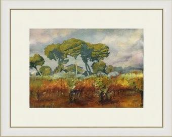 Original watercolor painting - landscape - vines