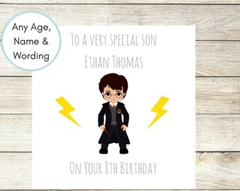Harry Potter Personalised Birthday Card, Boys 5th 6th 7th 8th 9th 10th Birthday Card, Son Birthday Card, Cousin, Brother Nephew Any Wording