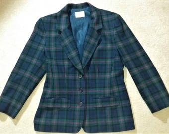 Vintage Pendleton Tartan Plaid Check 100% Virgin Wool Women's Blazer Jacket Size 10