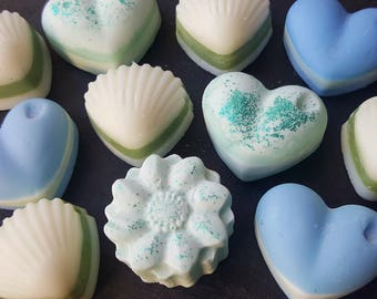 Smells Of the Sea | A box of 10 Decorative Highly Scented Soy Wax Melts based on 3 luxiourious sea side smells