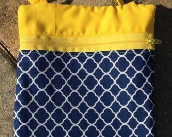 Navy and yellow bag