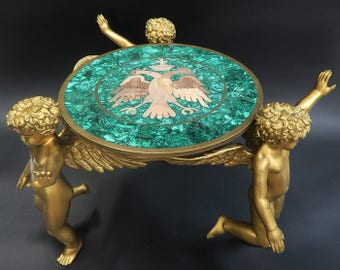 French Figural Bronze/Malachite Side Table, Signed!