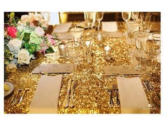 """90x156"""" Gold Sequin Rectangle Tablecloth Table Cloth Dinner Banquet Dinner Head Wedding Sparkly Glittery Gold Wholesale Sale Fast Shipping"""