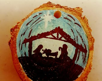 Nativity scene handmade ornament
