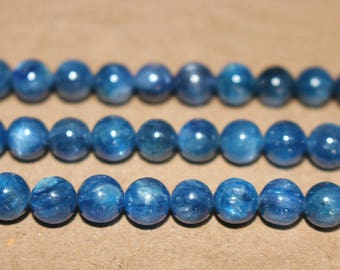 15 Inches Full strand,Natural Blue Kyanite Gemstone Smooth Round Beads 6mm 7mm s,loose beads,semi-precious stone