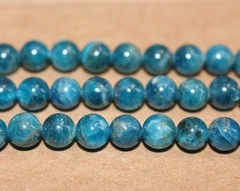 15 Inches Full strand,Natural AA Blue Apatite Gemstone Smooth Round Beads 6mm 8mm 10mm 12mm beads,loose beads,semi-precious stone