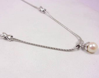 "Solid 14K White Gold 18"" 1.2mm Fancy XO Snake Chain with Pearl Pendant 9.1 grams"