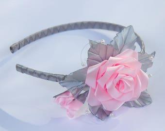 The satin rose headband