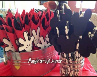 Mickey Mouse Faces and Mickey Mouse Clubhouse Handy Helper Hands For Birthday Party or Baby Shower (24 Pieces)