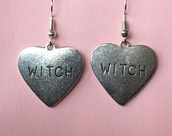 Silver Witch Heart Earrings