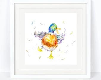 Crazy Duck - Duck Print. Printed from an Original Sheila Gill Watercolour. Fine Art, Giclee Print, Hand Painted, Home Decor
