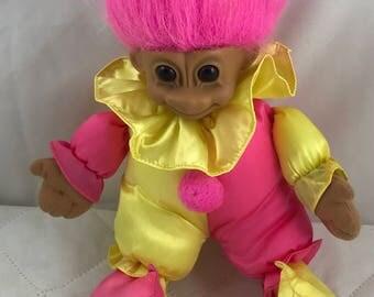"""Vintage 12"""" Stuff Russ Clown Troll Doll - Odor Free"""