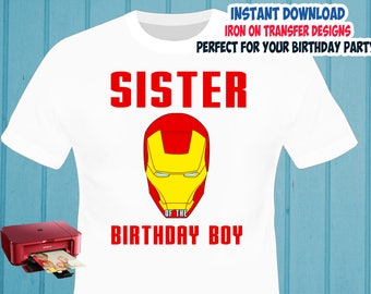 Iron Man Iron On Transfer , Sister Birthday Shirt Iron On Transfer , Digital Files , PNG , High Resolution , Instant Download