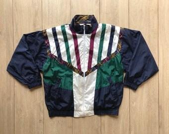 PETITES, Color Block Windbreaker Jacket, Multi Colour jacket, Floral Vintage Jacket, 90s. Size M/M