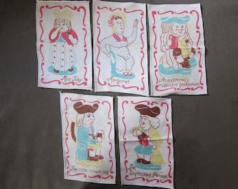 Retro 1970's comic Handkerchiefs (Set of 5)