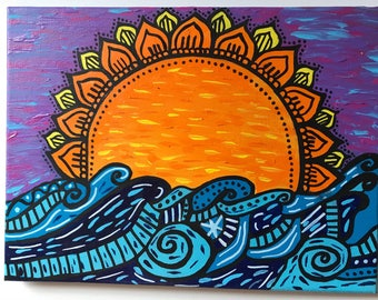 Sunset Mandala Painting
