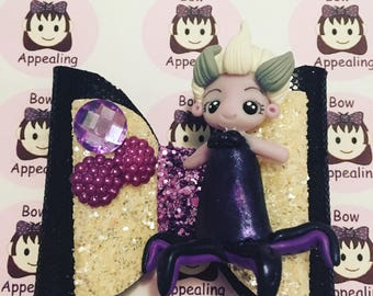 Double layer black and white glitter hair bow with large ursula clay figure, glitter hair bow, hair bow for girls