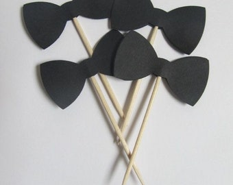 Little man black bow tie toppers