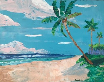 My Back Yard,  Original Acrylic Painting Made With Palette Knife. Waves, Palm trees. Whimsical painting.