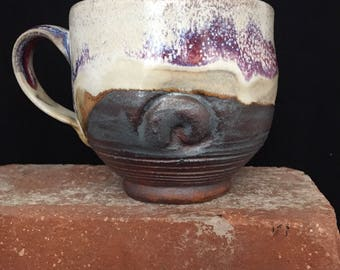 Mug-016- ceramic Mug,Cup, Free shipping, Handmade Mug, Earthy Mug, Wabi Sabi Style Cup, Coffee mug/Cup, Purple Hues