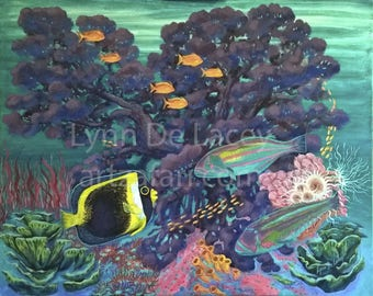 Original acrylic on canvas -Surgewrasse Coral Garden