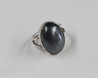 Hematite and silver ring