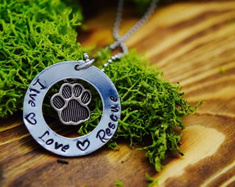 Live, Love, Rescue Paw Necklace