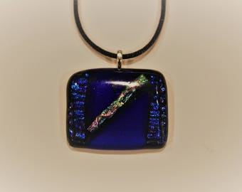 Blue with dichroic stripe necklace