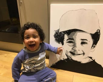 50cm x 60cm commissioned hand painted portraits. Custom made black and white acrylic paint on frame strecthed canvas. CanvasByCalvin