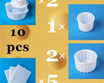 Set of 5 Assorted Molds for Cheesemaking   Universal molds for Soft & Hard Cheese   Cheese mold