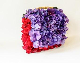 Handbag covered in silk hydrangeas