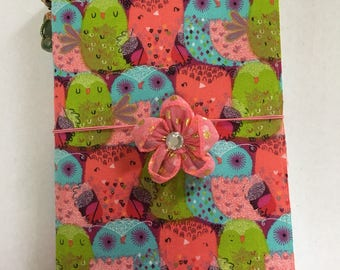 Fabric journal cover, handcrafted, owls