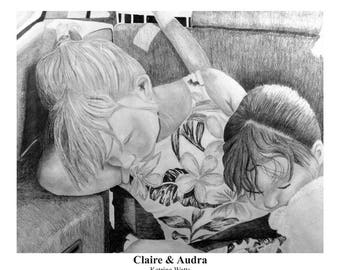 Pencil Drawing of Claire & Audra