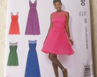 McCalls M7090 Sewing Pattern Sleeveless Pullover Dress Womens Size RR 18-24