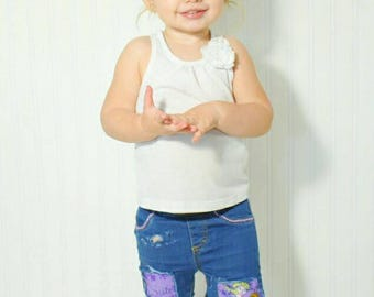 TODDLER DISTRESSED JEANS - denim / girl / boy / skinny's / baby / kids / custom jeans / patches / skinny sister love
