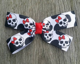 SKULL Skeleton and Red Bow  Hair Clip Bow Hair Accessory Red White Black Bow Rockabilly Pin Up Day of The Dead - Handmade