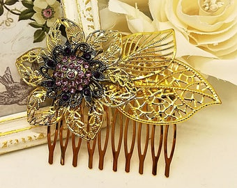 Gold flower hair comb, gold leaf comb, wedding hair comb, flower hair comb, gold leaf headpiece, leaf  hair accessory Gold wedding hairpiece