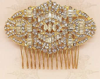 Gold bridal hair comb, Wedding jewelry, Wedding Hair Accessory, Vintage Hair Accessories, Rhinestone Hair Comb, Crystal Hair Comb