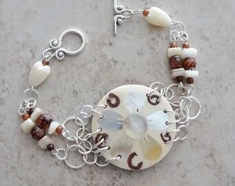 Tropical Coconut Shell Bead Bracelet, Silver Beaded Bracelet, Beach, Summer, Beaded Chain Linked Bracelet, Shell, Coconut, Boho