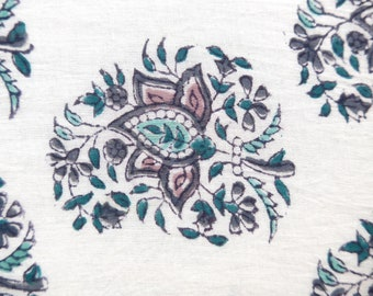 Floral Paisley in Grey, Blockprint from India