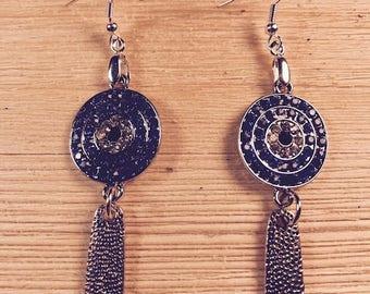 Blue sparkly earrings, Bold earrings, Statement earrings, Night earrings, Fun earrings
