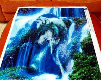 Diy Diamond Painting Cross Stitch Kits Full Diamond Embroidery waterfall Wolf Needlework Diamond Mosaic Home Decor