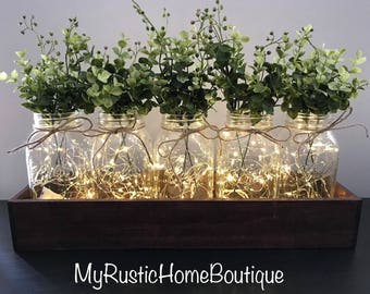 Large Farmhouse Style Mason Jar Centerpiece/Mason Jar Centerpiece/Greenery/Rustic Home Decor