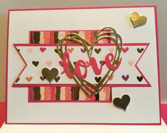 5 handmade 'love' valentines cards , blank inside ,with matching envelopes
