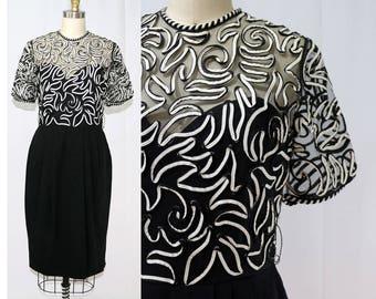Vintage 1980's Victor Costa Black & White Swirl Dress / Size 4/6