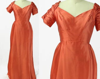 Vintage 1960s Coral Satin Gown with Ruched Sleeves/ Size 6/8