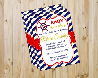 20 Baby shower invitations - baby shower - ahoy invitaions - nautical invitations