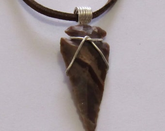 "Wire Wrapped Arrow Head on a Leather Cord, 1 7/8"" in length & 5/8"" in width. Jewelry. Pendant"