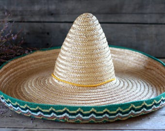 Large Mexican sombrero 50's. Vintage hacienda decor. Vintage hat. French milliner. Hatter. French modiste. French chapelier. Sombrero hat.
